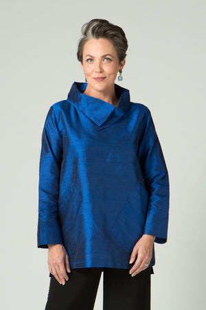 Silk Cowl Neck Tunic - New Orleans Wovens - Tops - Blouses