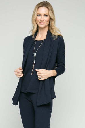 "26.5"" Long Sleeve Rolled Lapel Cardigan"