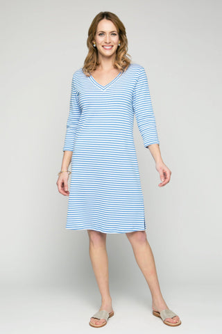 "37"" ¾ Sleeve V-Neck Stripe Dress"