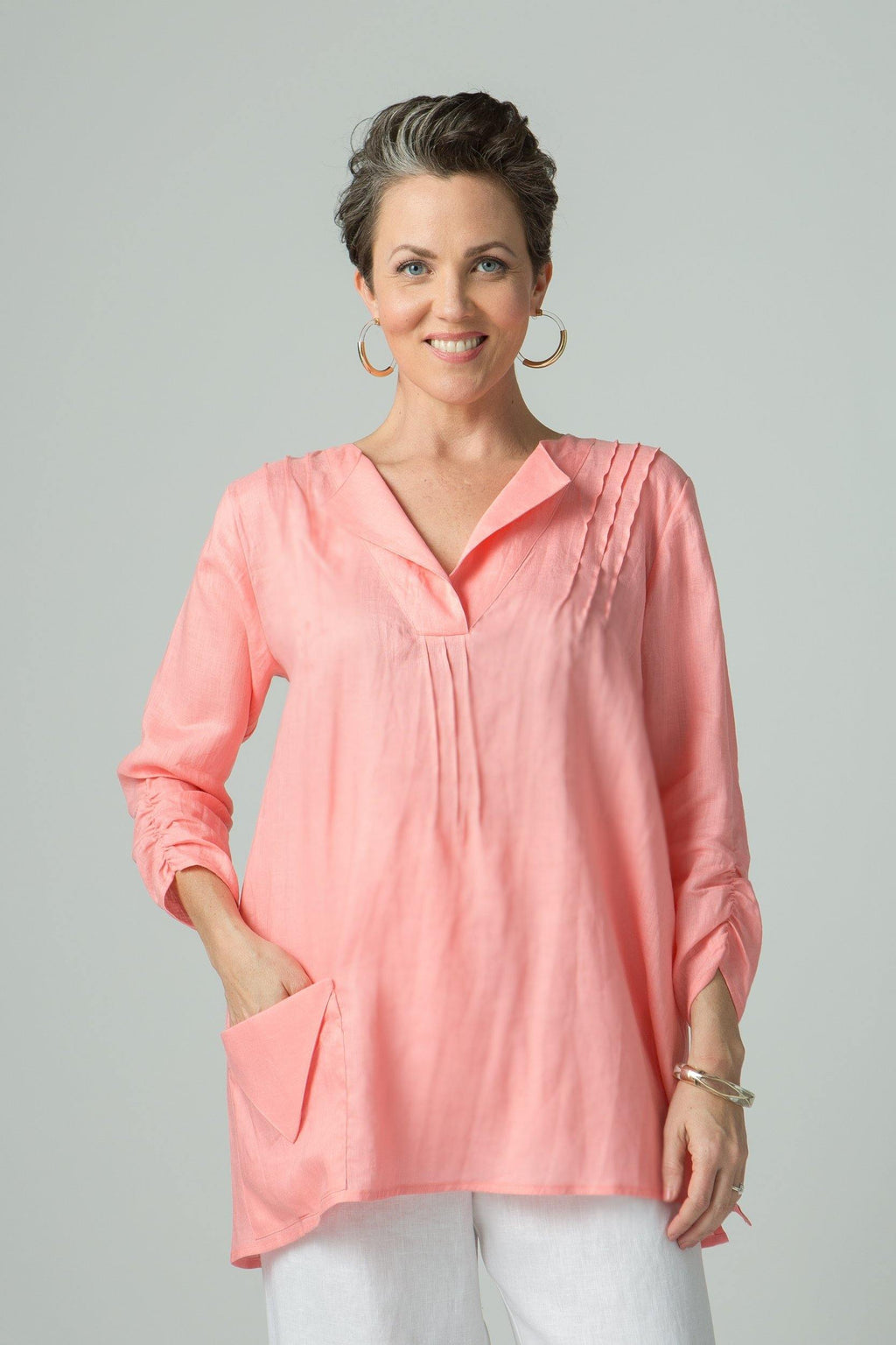 "27"" Short Sleeve Tunic with Pockets"