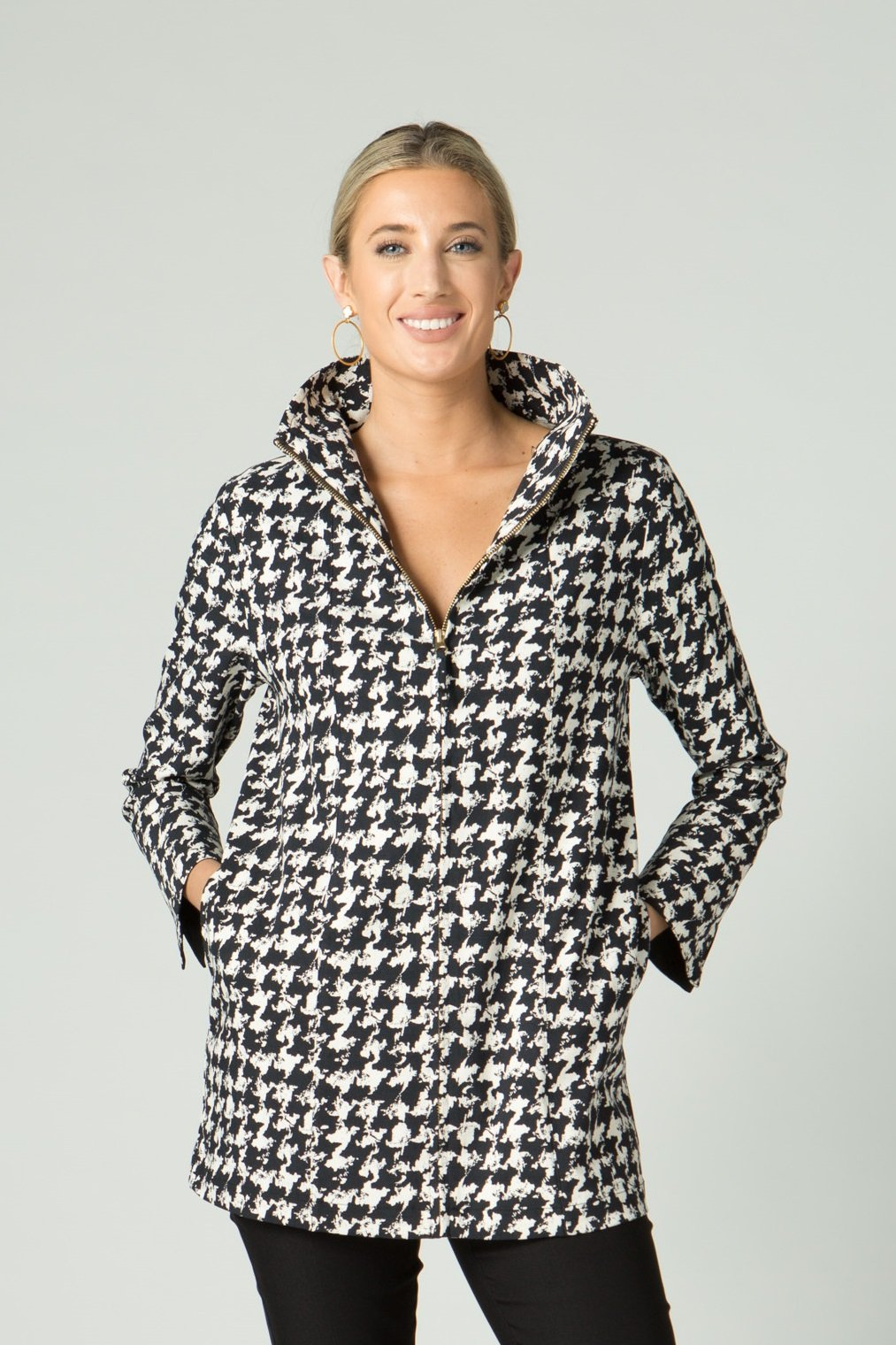Houndstooth Print Zip Jacket - New Orleans Wovens - Outerwear - Jackets