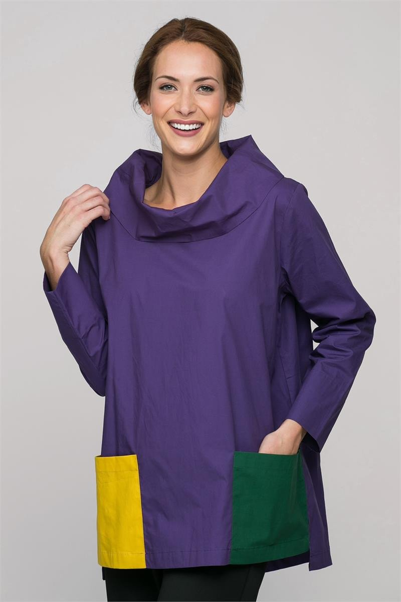 "28"" Cowl Neck Top with Fronts Pockets and Side Slits"