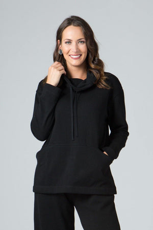 Long Sleeve Cowl Neck Top with Front Pocket