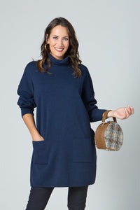 "33"" Turtleneck Tunic with Pockets - New Orleans Knitwear - Tops - Sweaters"