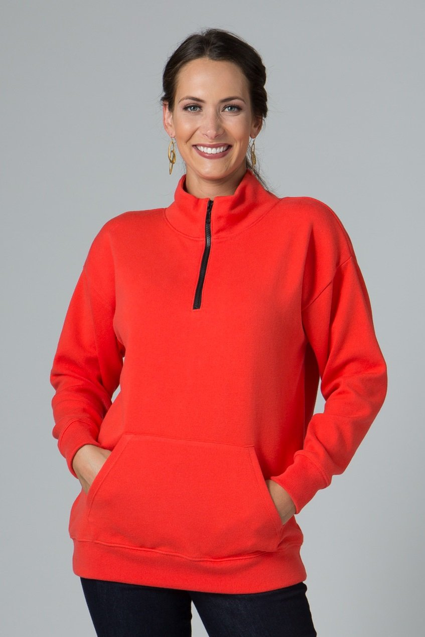 Long Sleeve Half Zip Pullover with Pocket - New Orleans Knitwear - Tops - Sweaters