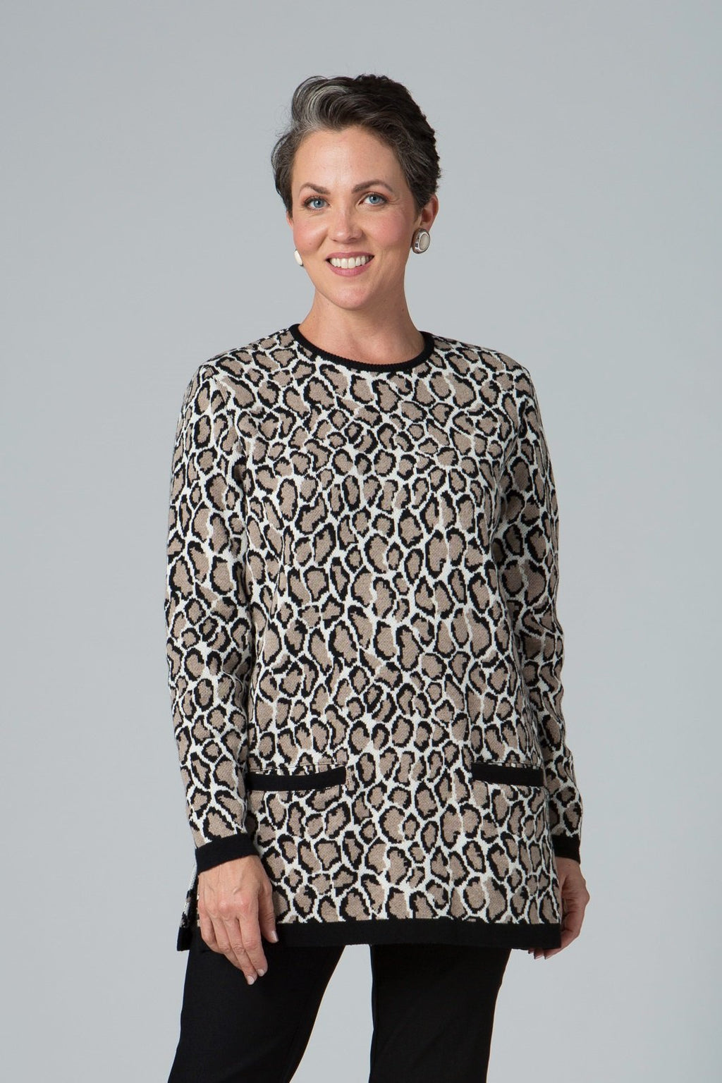 Long Sleeve Two Pocket Animal Print Sweater