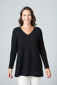 "29"" Long Sleeve V Neck Double Layer Sweater"