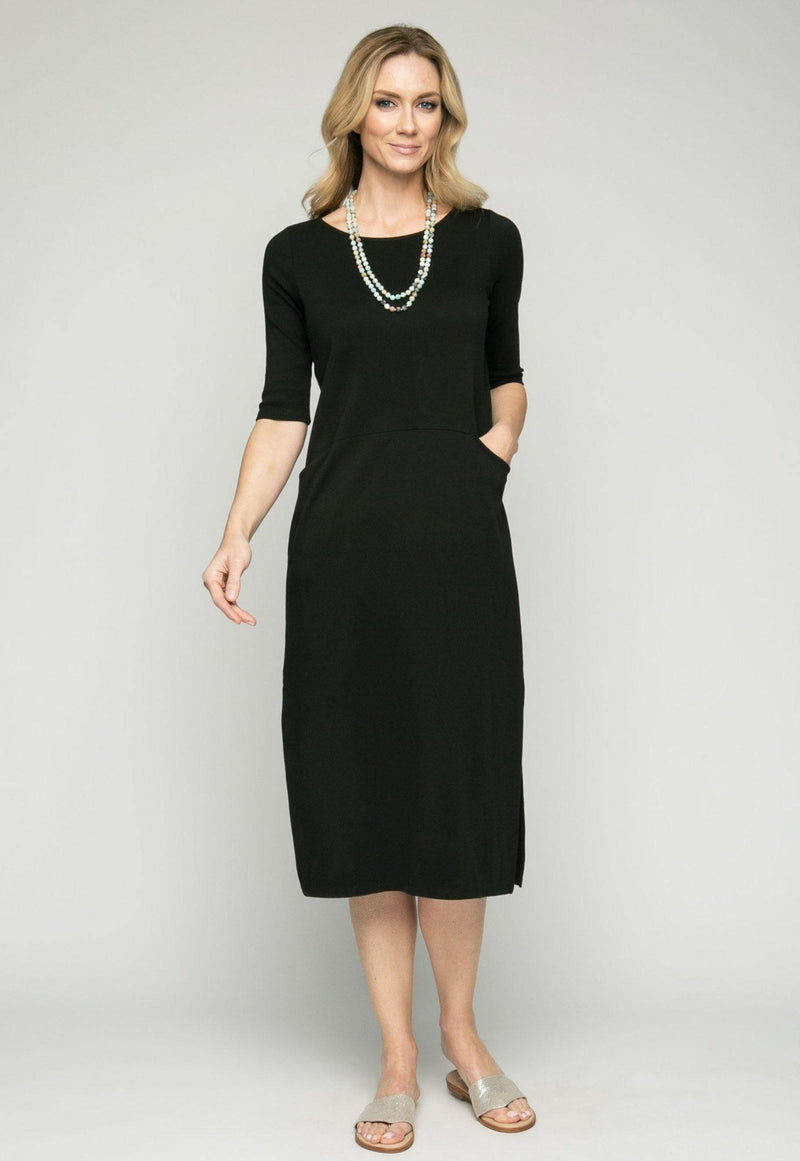 "47"" ¾ Sleeve Pima Dress with Pockets"