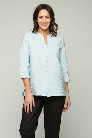 "26"" Button-down Blouse with Mandarin V Collar"