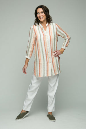 "33"" Mandarin Collar Striped Linen Blouse"