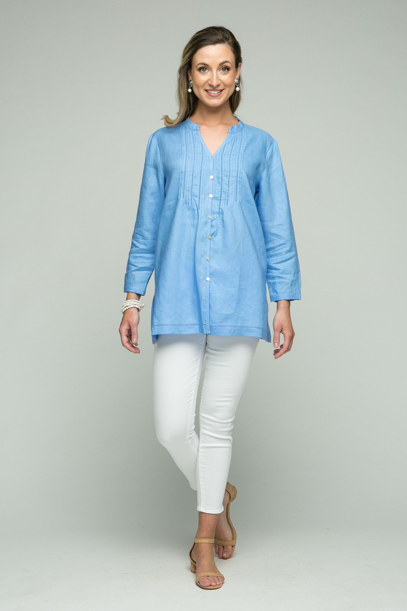 "30"" Mandarin Collar Blouse with Front Pleating"