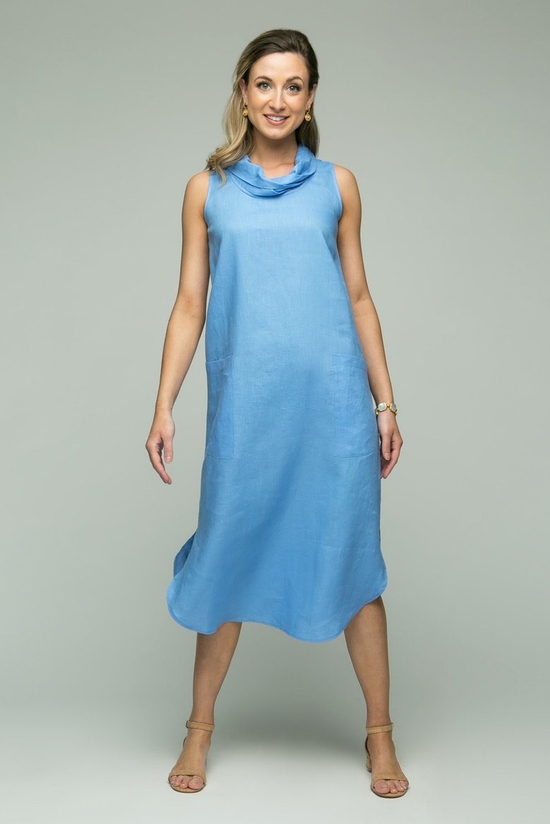 "48"" Sleeveless Cowl Neck Dress"