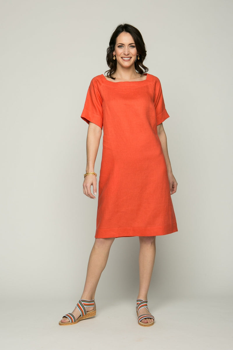 "39"" Short Sleeve Square Neck Dress with Pockets - Amélline - Dresses - Casual"