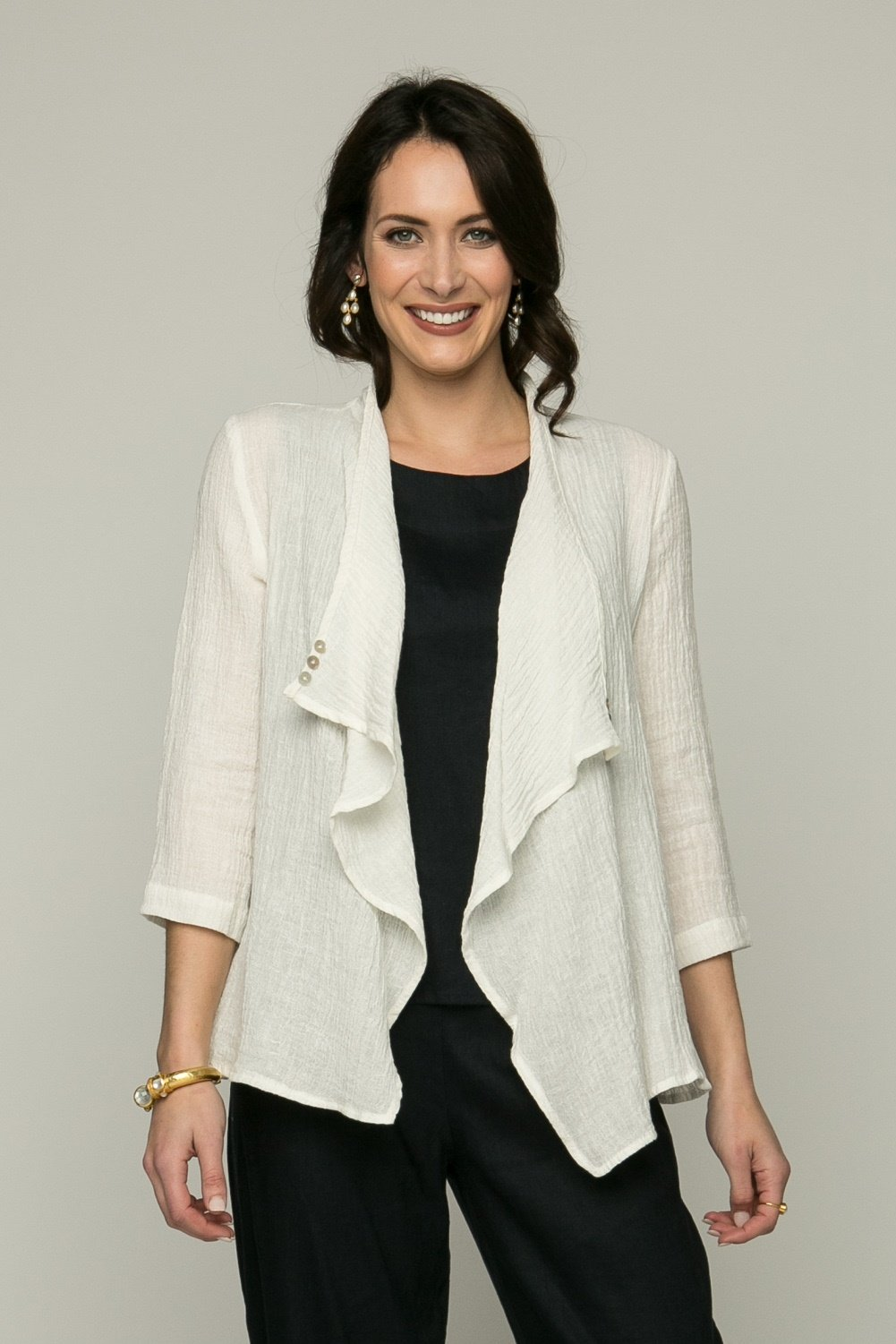 "24"" Open Cardigan with Button Detail"