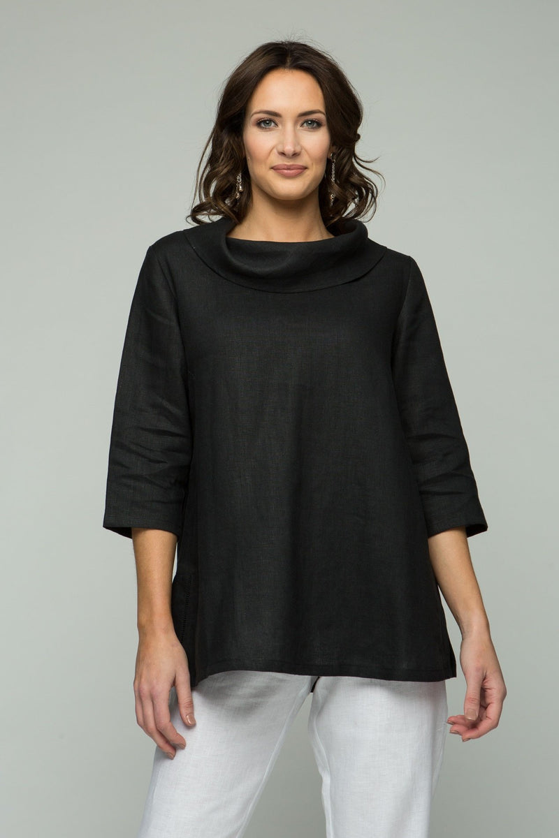 "28"" Cowl Neck Tunic with Back Slit Detail"