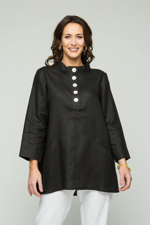 "29"" Stand Collar Button Tunic with Pockets - Size Small"