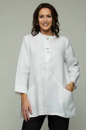 "29"" Stand Collar Button Tunic with Pockets"