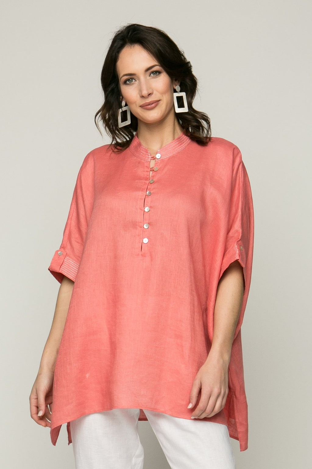 "30"" Oversized Short Sleeve Tunic with Metallic Stitching"