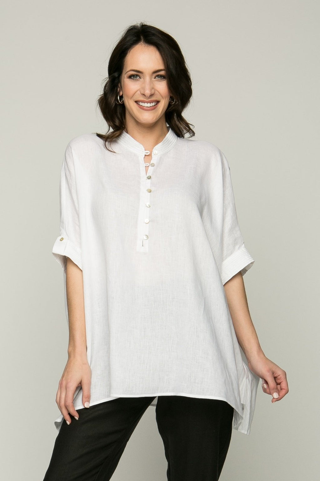 "30"" Oversized Short Sleeve Tunic - Amélline - Tops - Blouses"