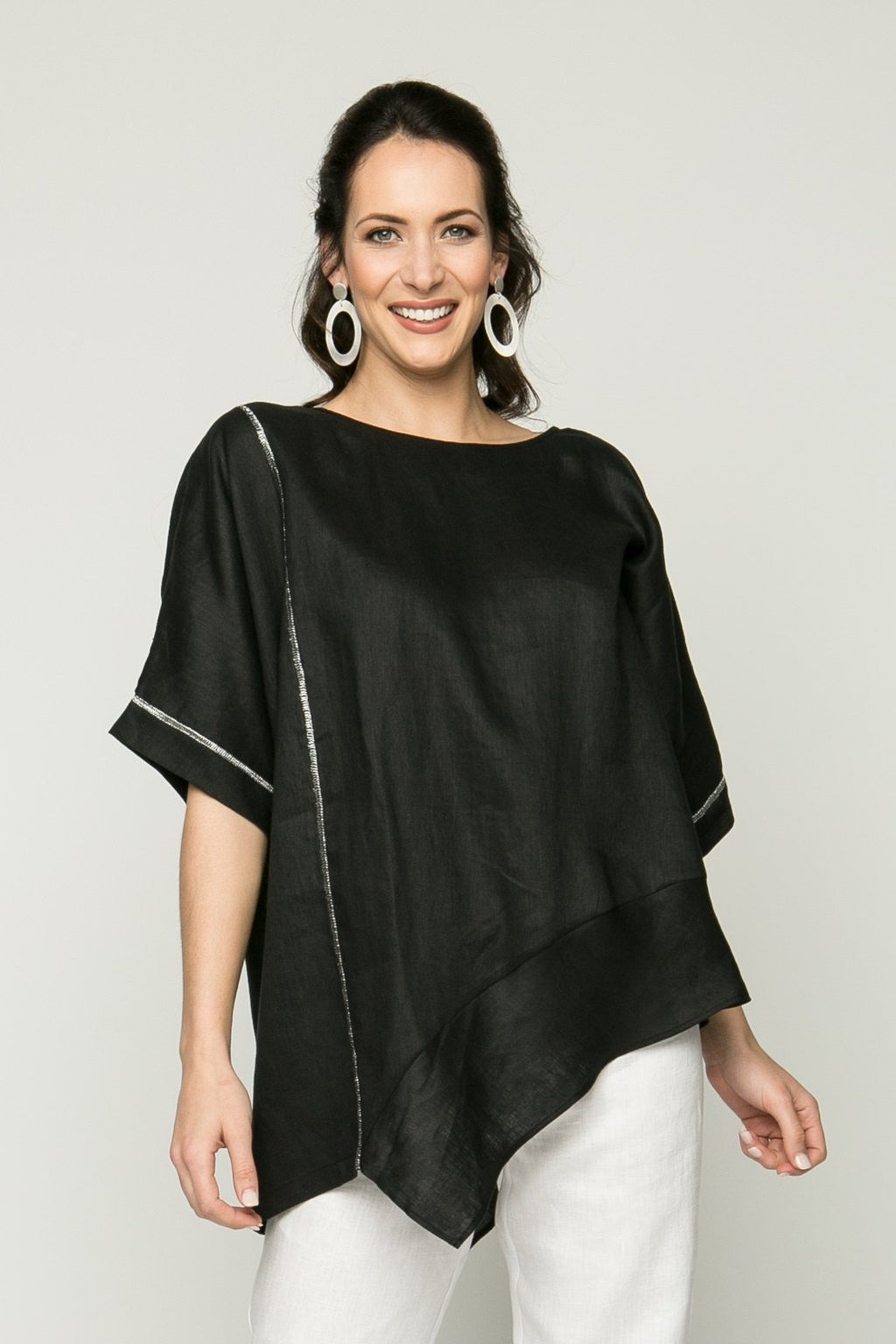"25""-31"" Drop Shoulder Asymmetrical Tunic with Metallic Stitching"