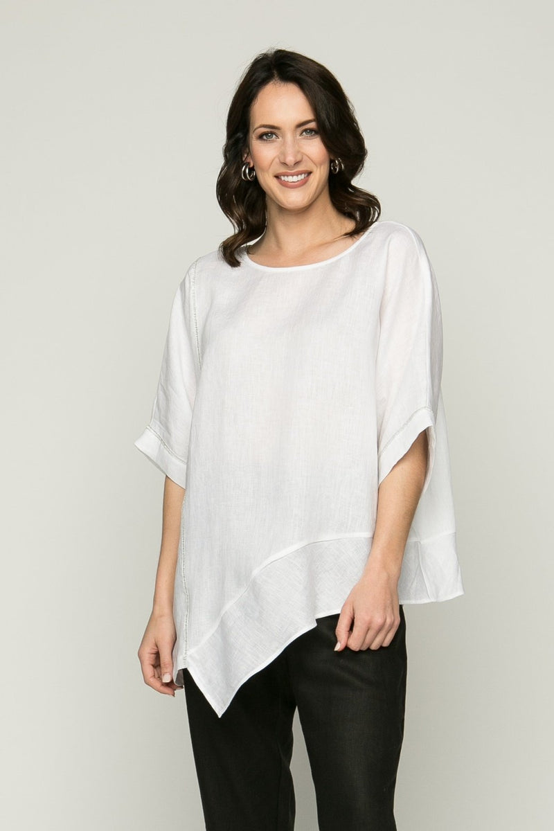 "25""-31"" Drop Shoulder Asymmetrical Tunic with Metallic Stitching - Amélline - Tops - Blouses"