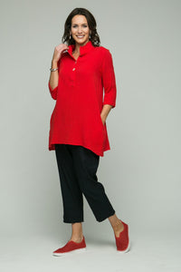 "28-30"" ¾ Sleeve Tunic with Gathered Collar"