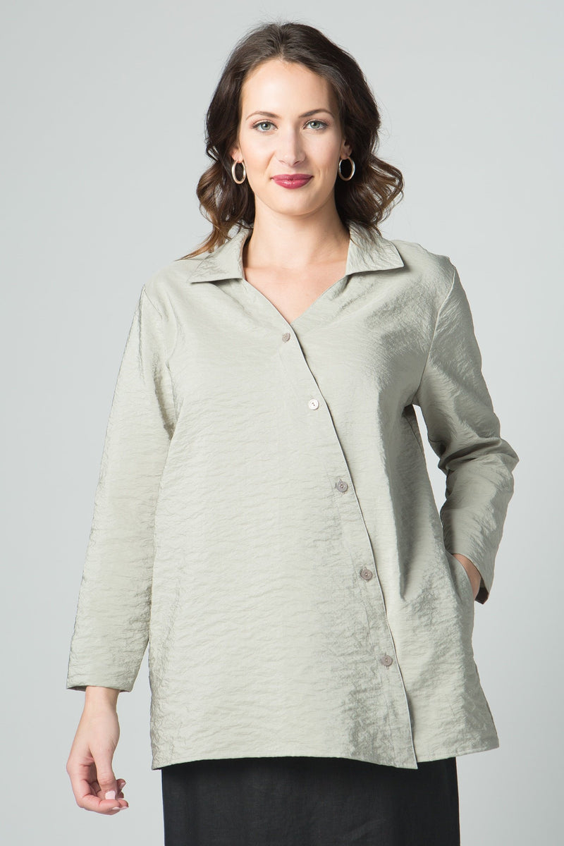 "28"" Tunic with Asymmetrical Front Buttons"
