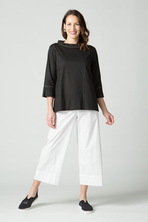 "34"" Flood Crop Pant with Flat Front Elastic Waist"