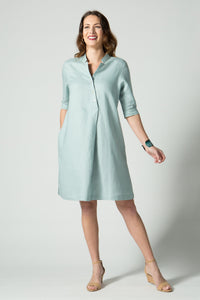 "39"" ¾  Sleeve Asymmetrical Button Dress"