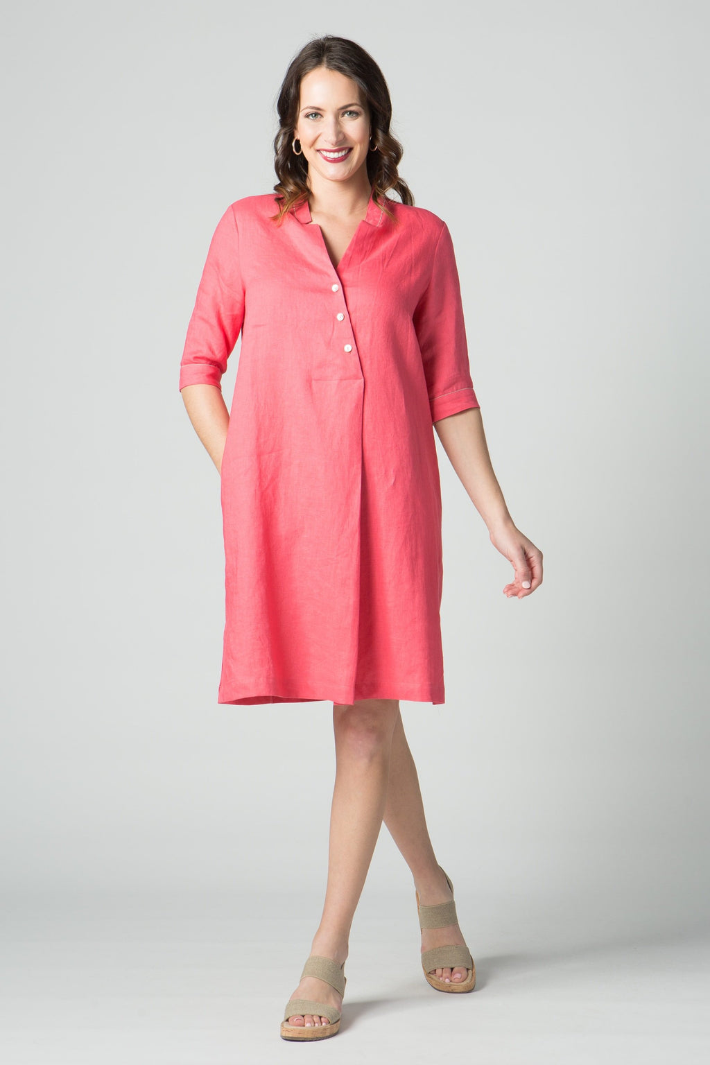 "39"" ¾  Sleeve Asymmetrical Button Dress - Amélline - Dresses - Casual"