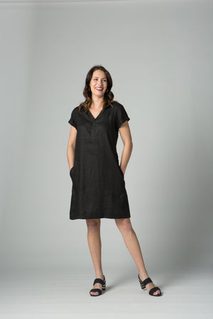 "38"" Short Sleeve Polo with V Collar Dress"