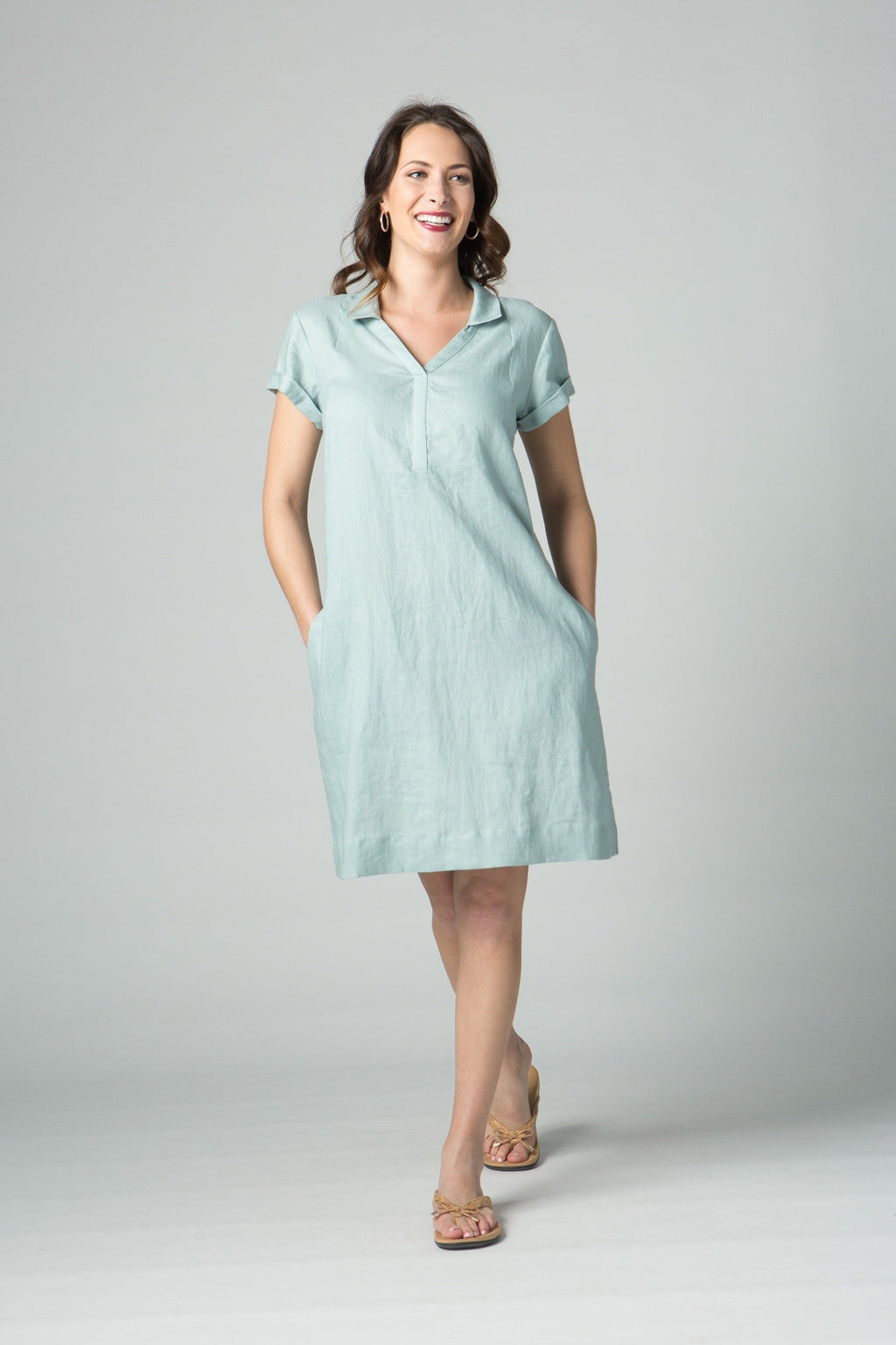 "38"" Short Sleeve Polo with V Collar Dress - Amélline - Dresses - Casual"
