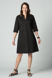 "40"" ¾ Sleeve Dress with Seam Details and Pockets"