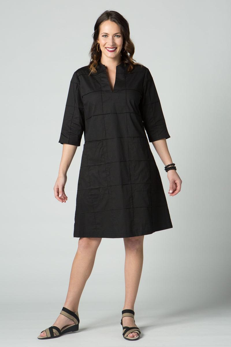 "40"" ¾ Sleeve Dress with Seam Details and Pockets - Amélline"