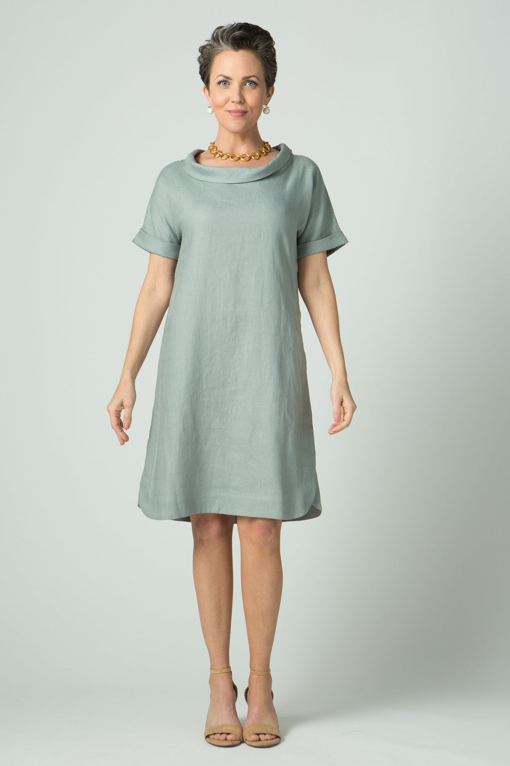 "37"" Small Cowl Short Sleeve Dress - Amélline - Dresses - Casual"