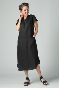 "48"" Short sleeves mandarin collar long dress"