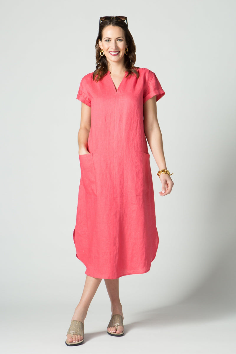 "48"" Short Sleeve Mandarin Collar Dress"