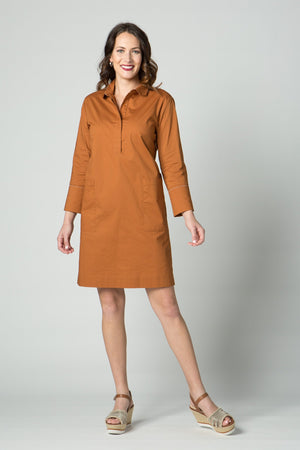 "38"" Shirt Dress with Chain Detail and Pockets - Amélline - Dresses - Casual"
