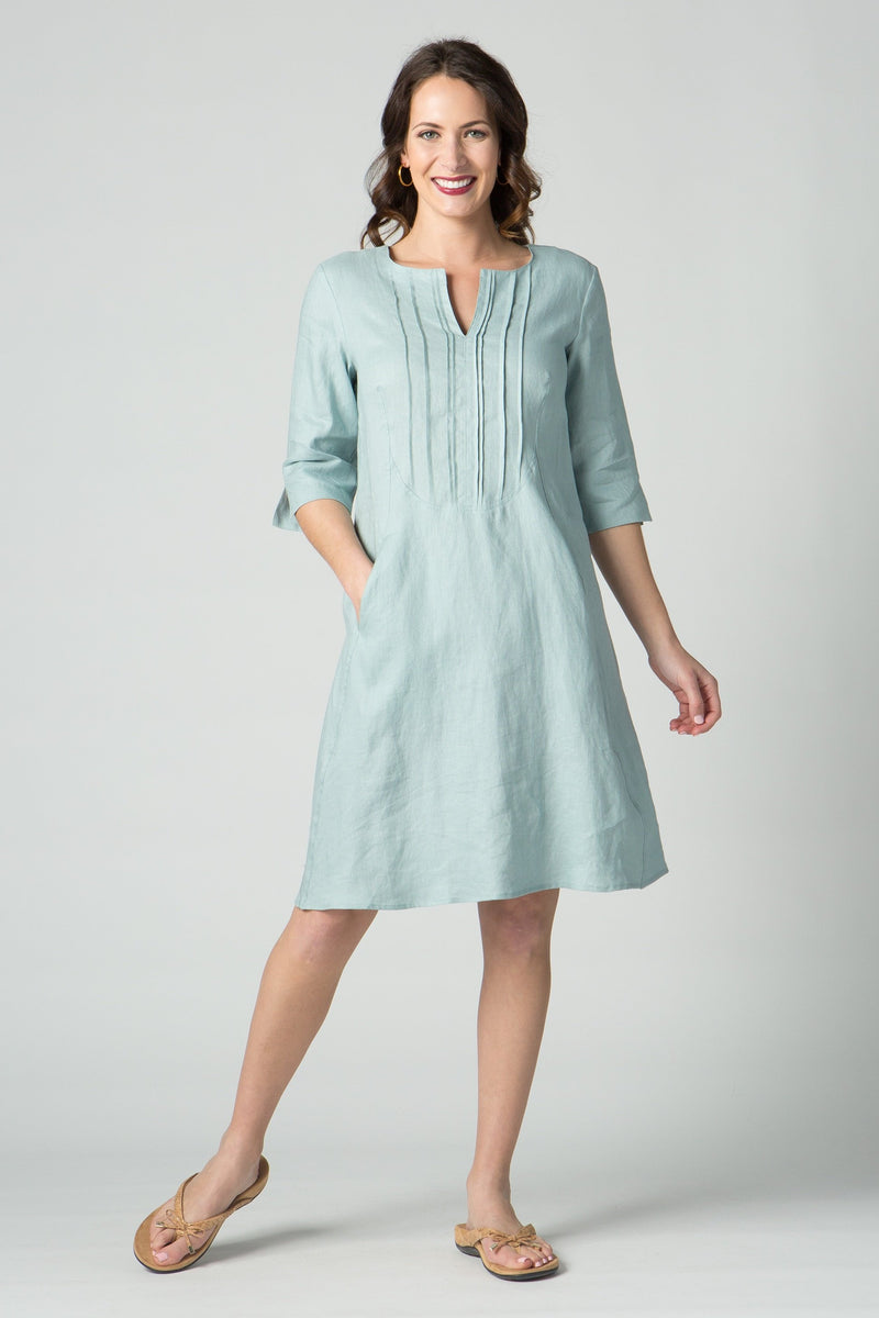 "38"" ¾ Sleeve Dress with Front Pleating & Pockets - Amélline"