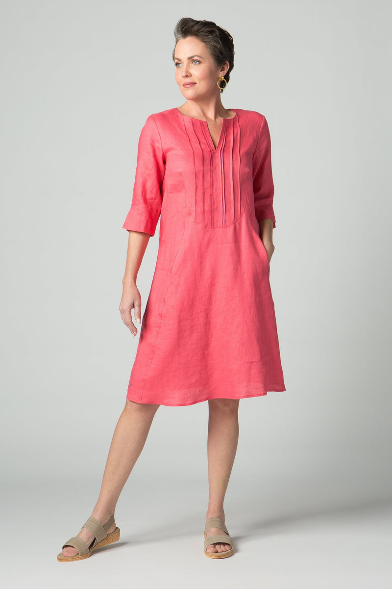 "38"" ¾ Sleeve Dress with Front Pleating & Pockets - Amélline - Dresses - Casual"