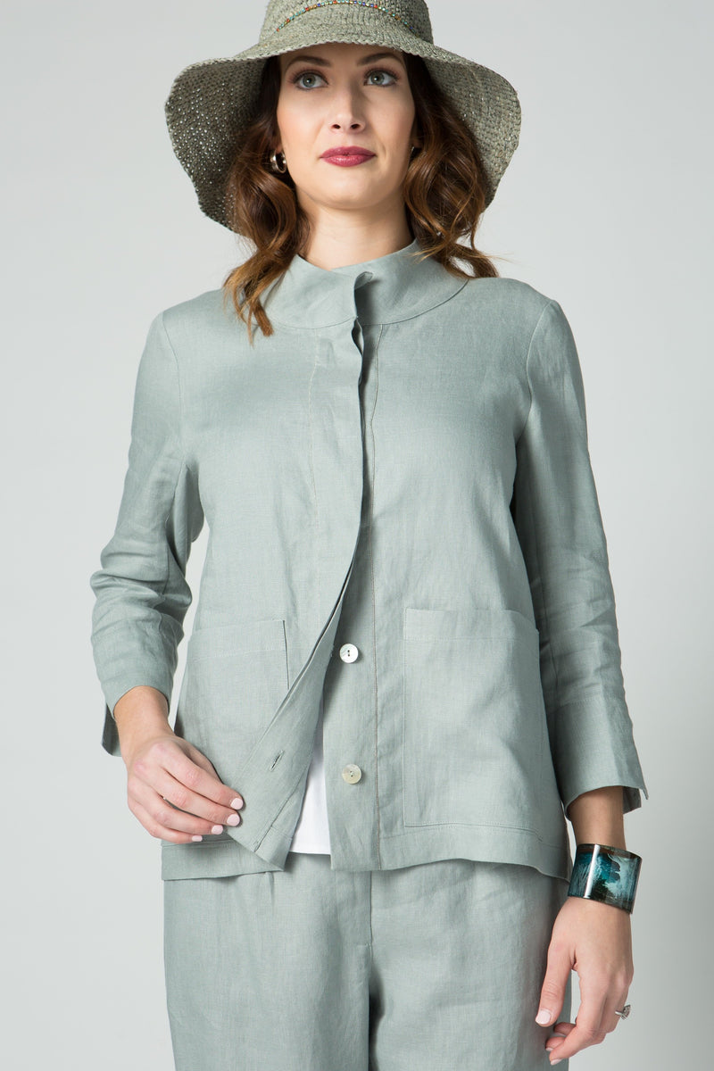 "25"" Stand Collar Button Front Jacket with Chain Detail - Amélline - Outerwear - Jackets"
