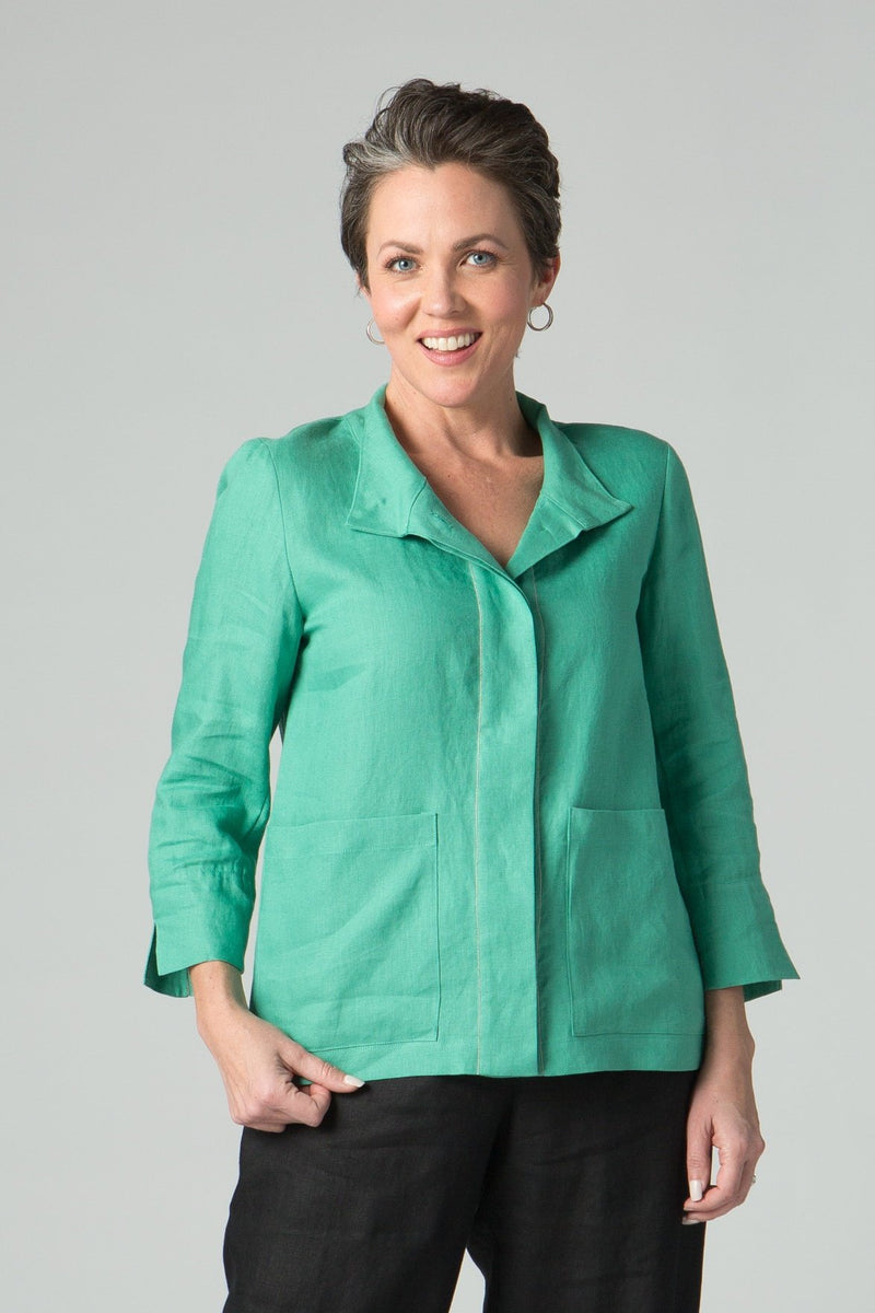 "25"" Stand Collar Button Front Jacket with Chain Detail"