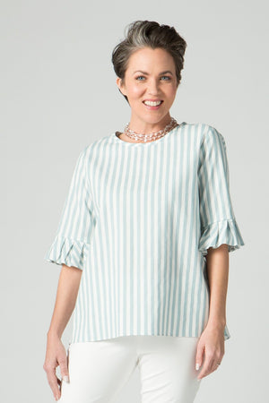"27""/29"" Round Neck Top with Pleated Cuffs"