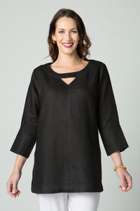 "29"" ¾ Sleeve Tunic with Neck Cutout and Side Buttons"