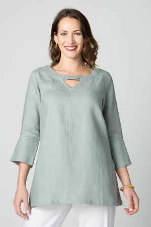 "29"" ¾ Sleeve Tunic with Neck Cutout and Side Buttons - Amélline - Tops - Blouses"