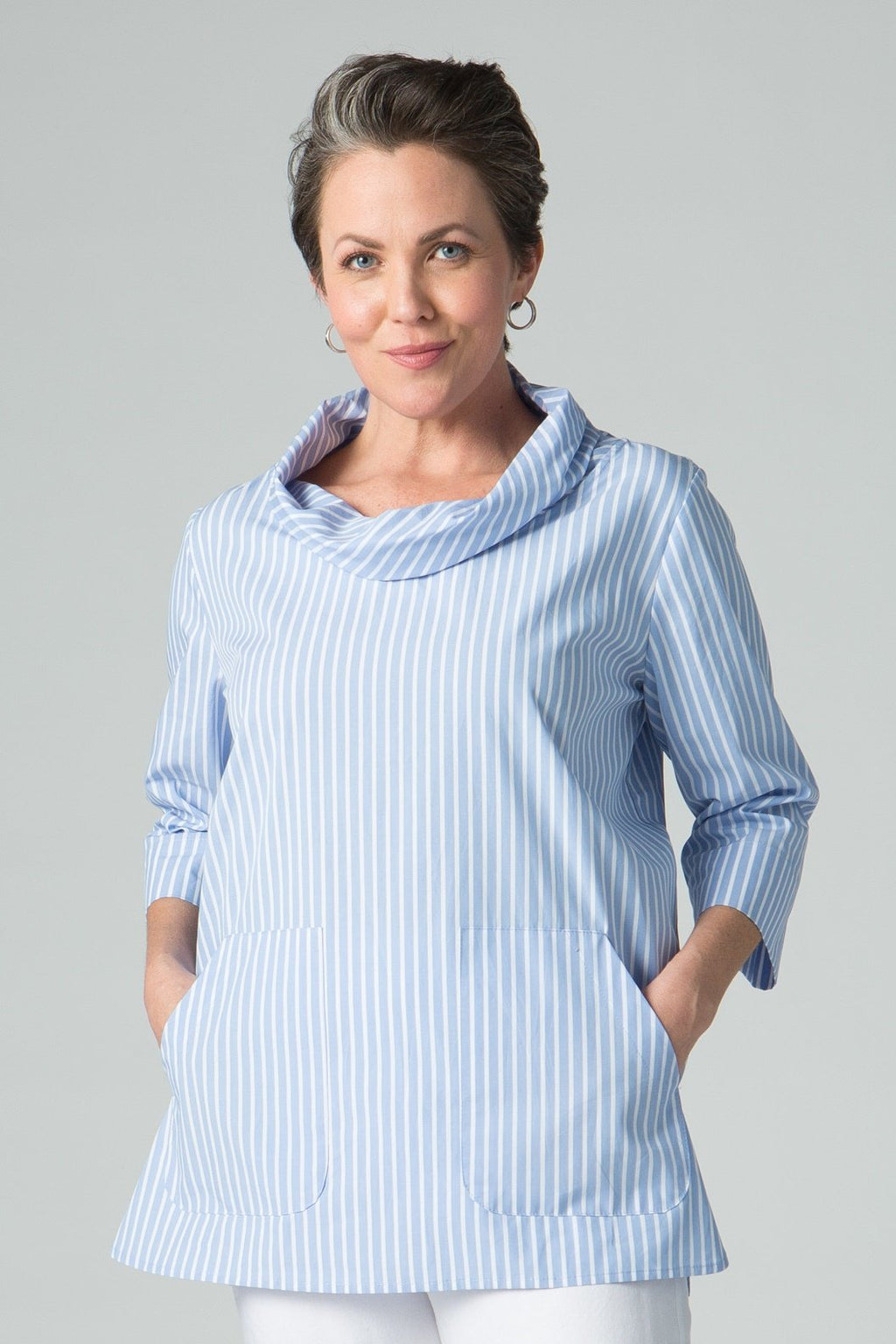 Cowl neck stripe tunic with pockets
