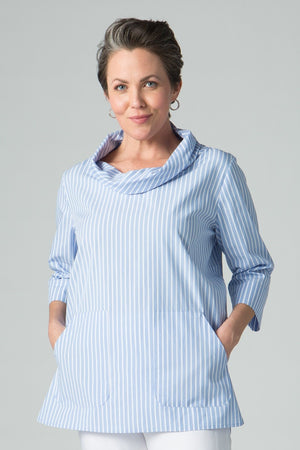 Cowl Neck Stripe Tunic with Pockets - New Orleans Wovens