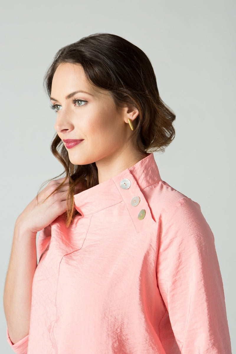 "28"" Asymmetrical Side Button Collar Tunic"