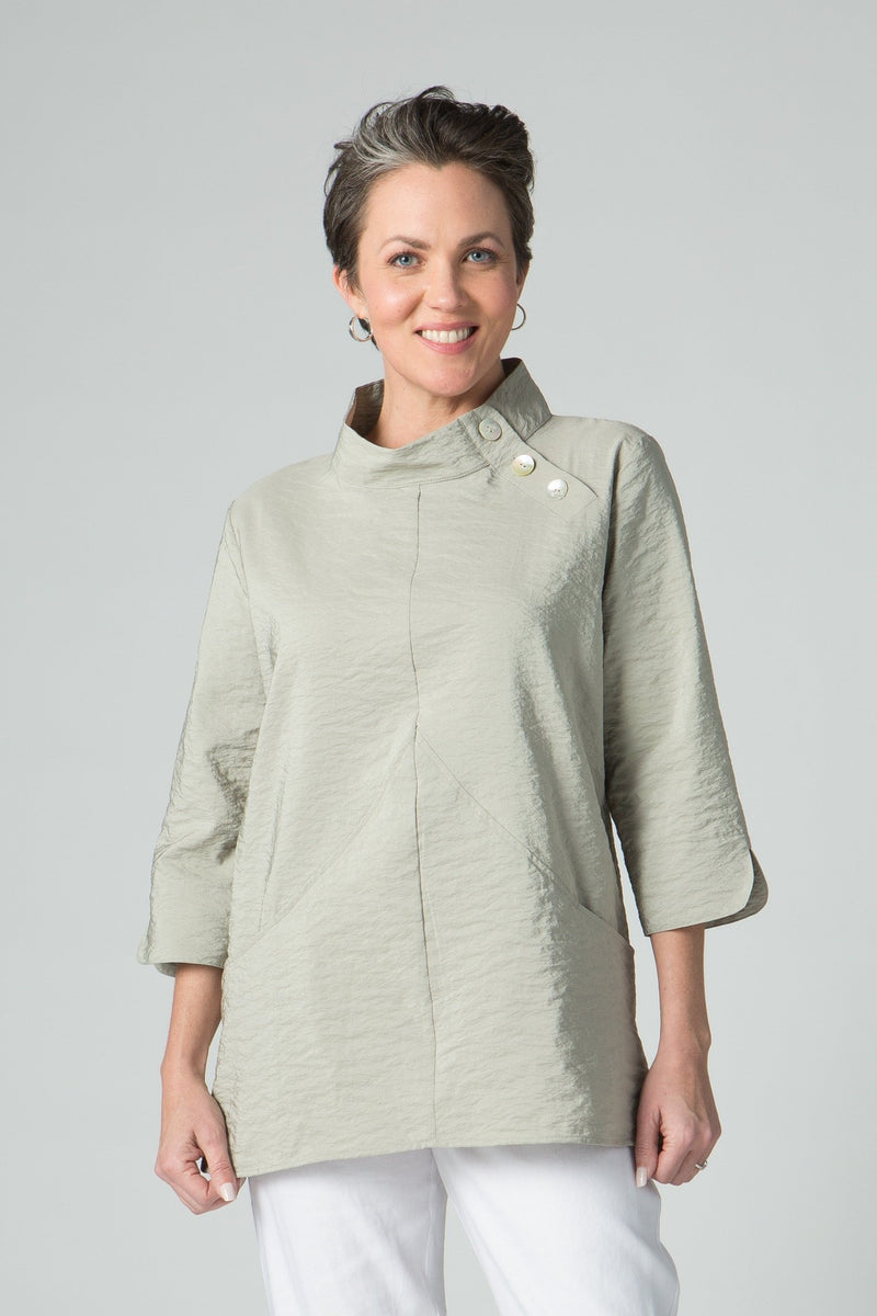 "28"" Asymmetrical Side Button Collar Tunic - Amélline - Tops - Blouses"