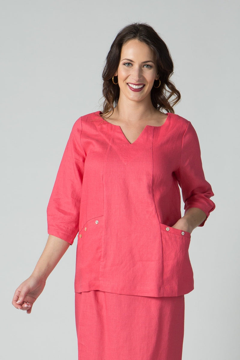 "29"" V Neck Tunic with 2 Front Pockets & Button Sleeve Detail - Amélline - Tops - Blouses"